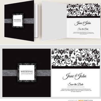 Open black floral wedding invitation - vector gratuit #179531