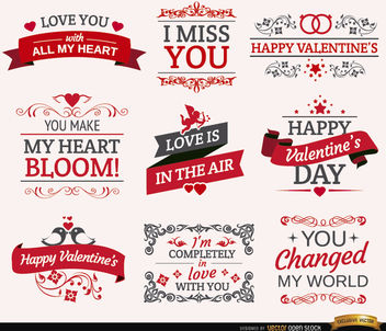 9 Valentine's Day romantic labels - vector #179541 gratis