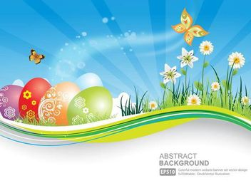 Fresh Natural Banner with Easter Eggs - Kostenloses vector #179611