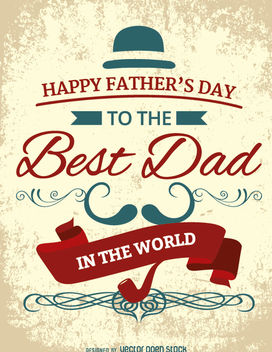 Happy Father's Day vintage card - vector #179721 gratis