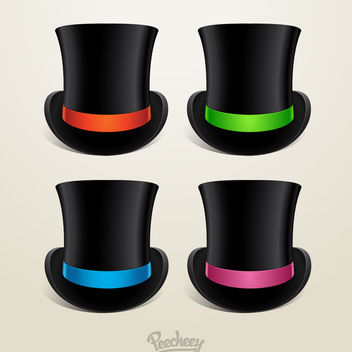 Cylinder Hat with 4 Colored Ribbons - vector gratuit #179731