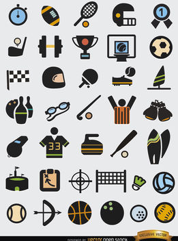 37 Sport elements icons set - Free vector #179811