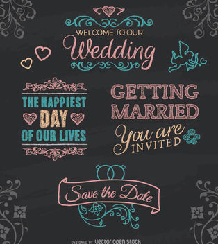 Wedding chalk emblems - vector gratuit #179881
