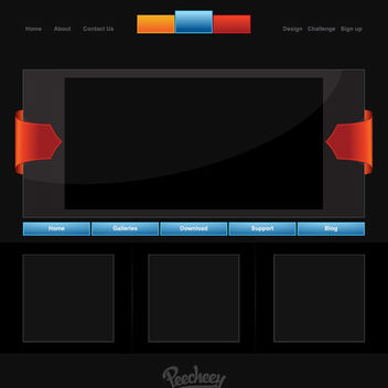 Creative Dark Webpage Template - vector gratuit #179961