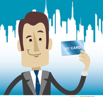 Businessman holding card skyline - Free vector #180001
