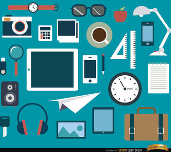 25 Office objects and elements set - vector gratuit #180091
