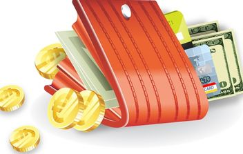 Closed Wallet with Coins, Money and Bank Cards - Kostenloses vector #180111