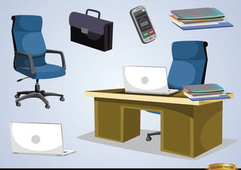 Office furniture and objects - Free vector #180161