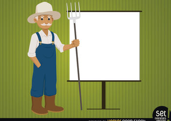 Farmer with presentation screen - vector gratuit #180211