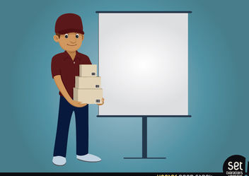 Delivery character with presentation screen - vector gratuit #180231