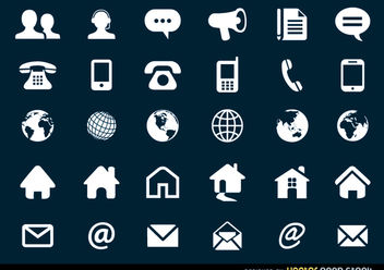 Contact Flat Icons Set - Free vector #180271