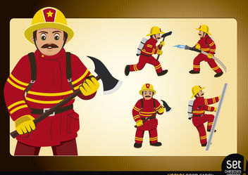 Action Fireman Poses - vector gratuit #180281