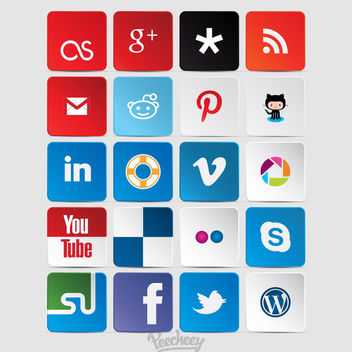 Collection of Colorful Social Network Icons - Kostenloses vector #180381