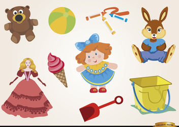 Toys dolls and teddies set - vector gratuit #180471