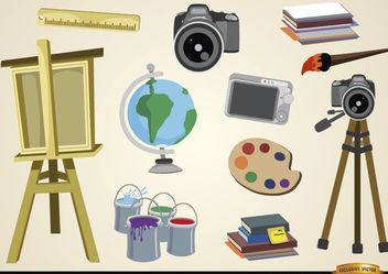 Visual arts and studies objects - vector gratuit #180481