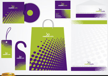 Green Purple Stationery packaging design - Free vector #180501