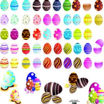 Decorated Colorful Easter Egg Set - Kostenloses vector #180521