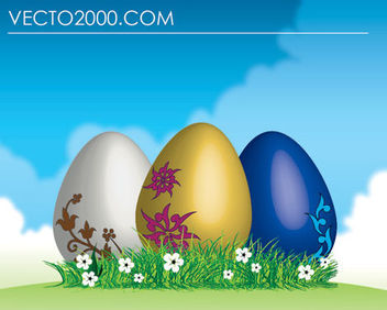 3 Easter Eggs on Green Grass - Free vector #180551