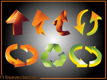 Shiny Decorated 3D Arrow Pack - Free vector #180611