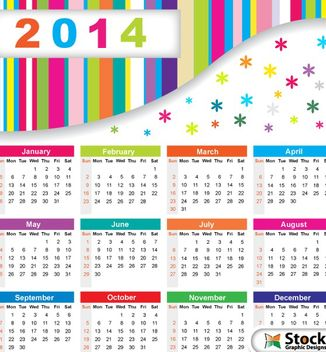 Colorful 2014 Calendar with Snowflakes - vector #180621 gratis