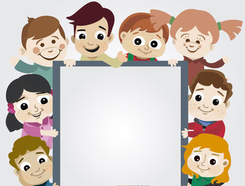 Children group holding placard - vector gratuit #180701