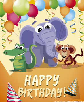 Birthday party wild animals - vector gratuit #180721
