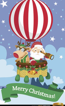 Santa and reindeer hot air balloon - Free vector #180741