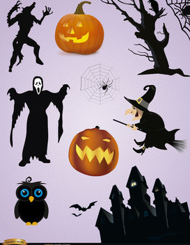10 Scary Halloween elements - Free vector #180751