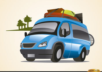 Van auto traveling vacations - vector gratuit #180771