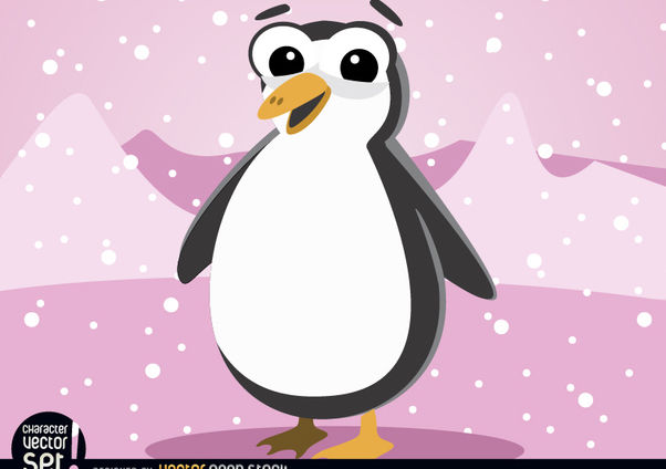 Cartoon Penguin in Antarctica snowing - Free vector #180801