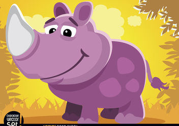 Purple Rhino in jungle cartoon animal - vector gratuit #180811