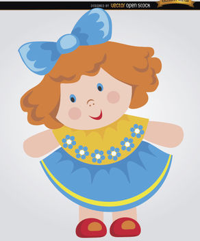Rag doll cartoon little girl - vector gratuit #180851