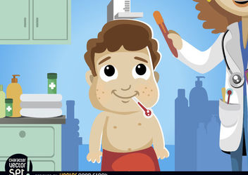 Cartoon boy in medical exam - vector gratuit #180891
