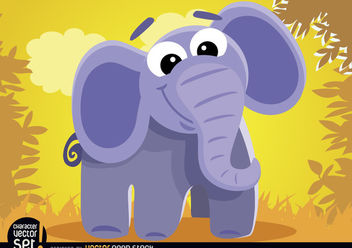 Cartoon elephant in the jungle - vector gratuit #180901
