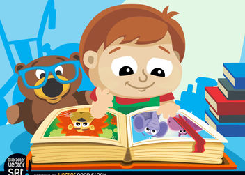 Little boy with illustrated book - vector gratuit #180911