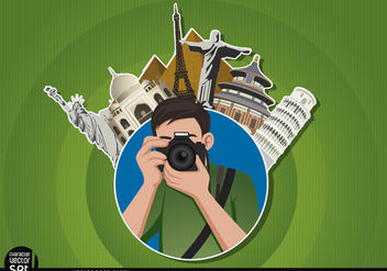 Photographer logo with landmarks - vector gratuit #180931