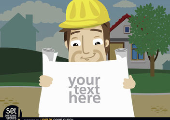 Construction employee looking plans text - Kostenloses vector #181001