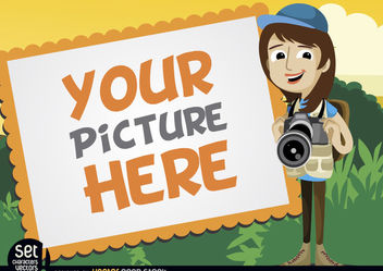 Picture frame with camera girl - vector gratuit #181011