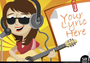 Girl singing and playing with lyrics - Free vector #181061