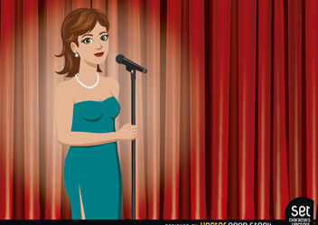 Girl Singer Performing in a Theater - vector gratuit #181101