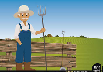Farmer pitchfork on his farm - vector gratuit #181111
