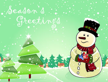 Snowman with Christmas Trees and Gifts - Free vector #181141