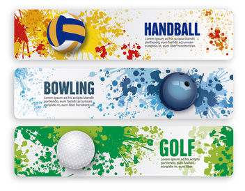 Handball, Bowling and Golf Banners - бесплатный vector #181171