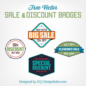 Vintage Sale & Discount Badges - vector #181221 gratis
