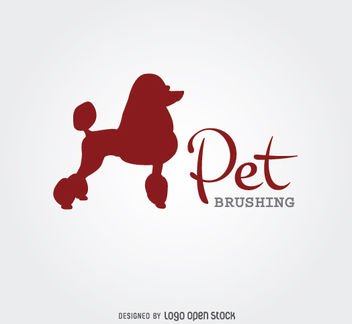 Poodle Silhouette Dog Brushing Logo - vector gratuit #181241
