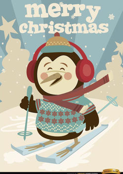 Christmas Penguin winter ski background - vector gratuit #181251