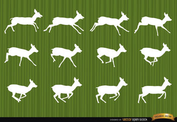 Deer running motion frames silhouettes - Free vector #181261