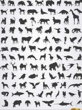 Terrestrial, aerial, and aquatic animal silhouettes - vector #181271 gratis