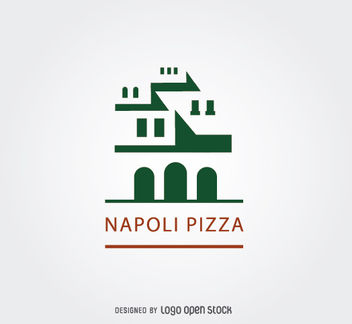 Ancient Napoli Building Pizza Logo - vector gratuit #181361