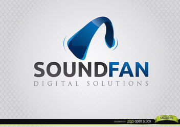 Headphone Curve Sound Fan Logo - Free vector #181371